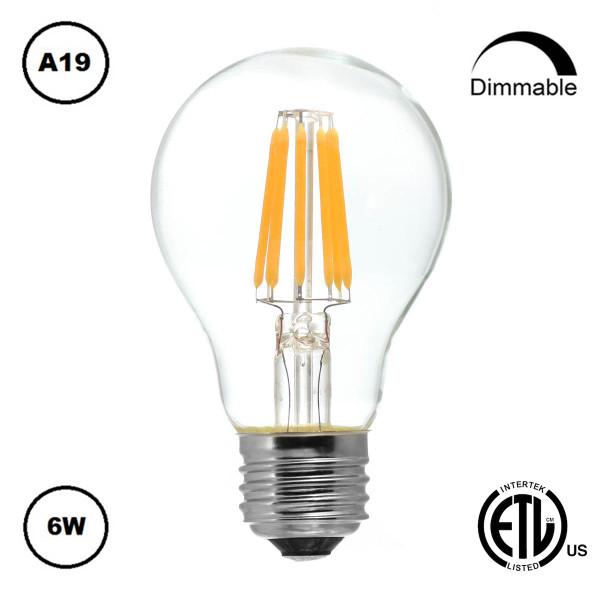 Dimmable Energy Saving Edison LED Light Bulb 6W (A19)
