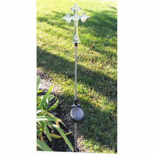 Solar Power Cross Garden Stake Light  | 2shopper