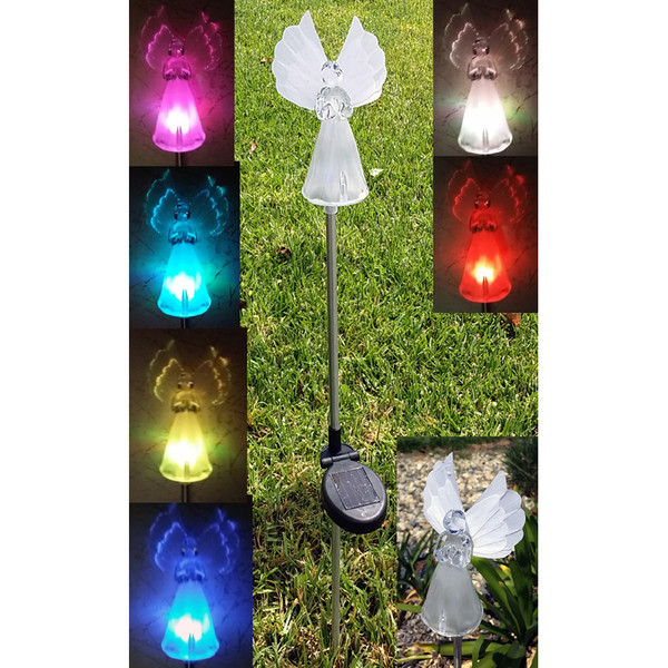 Solar Powered Angel LED Light Garden Stakes, Set of 2