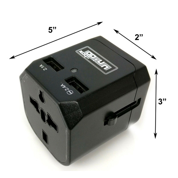 Universal Travel Adapter with Smart IC and Dual USB Port