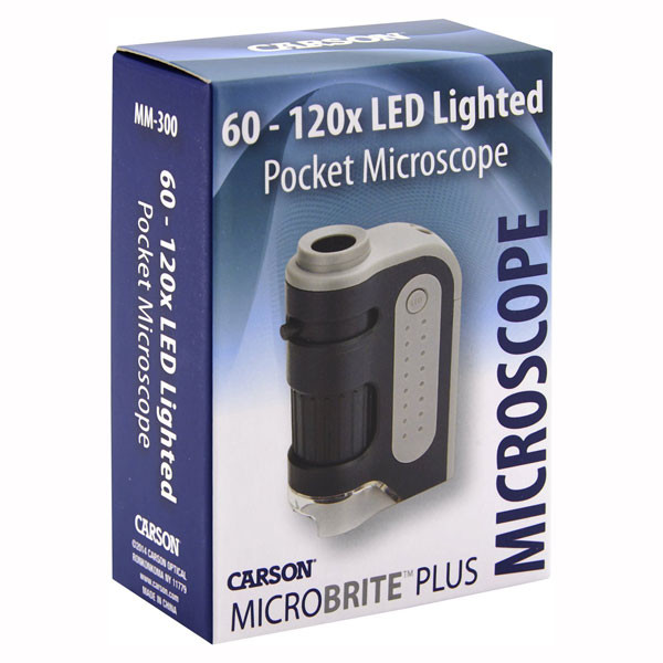 Carson MicroBrite Plus 60x-120x Power LED Lighted Pocket Microscope MM-300 | 2Shopper