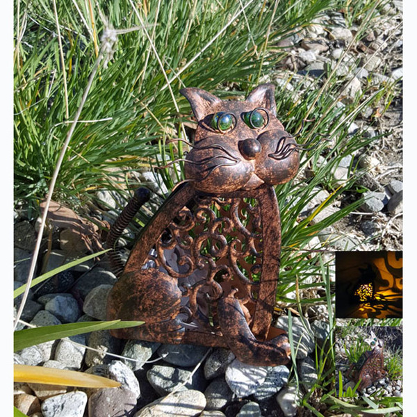 Solar Powered Antique Metal  Cat with Amber LED Light