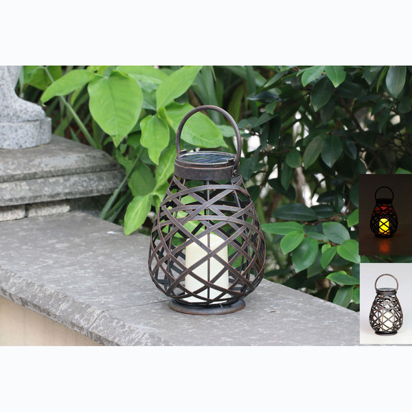 Solar Powered Metal Rattan LED Lantern Light