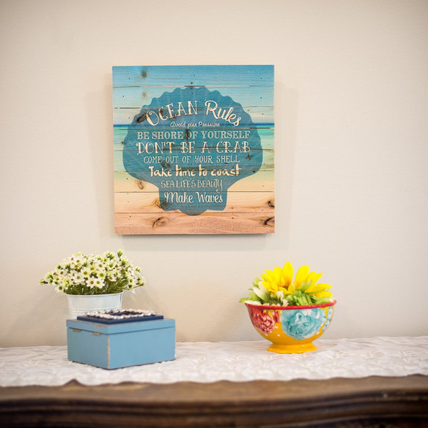 Ocean Rules Seashell Pallet Art