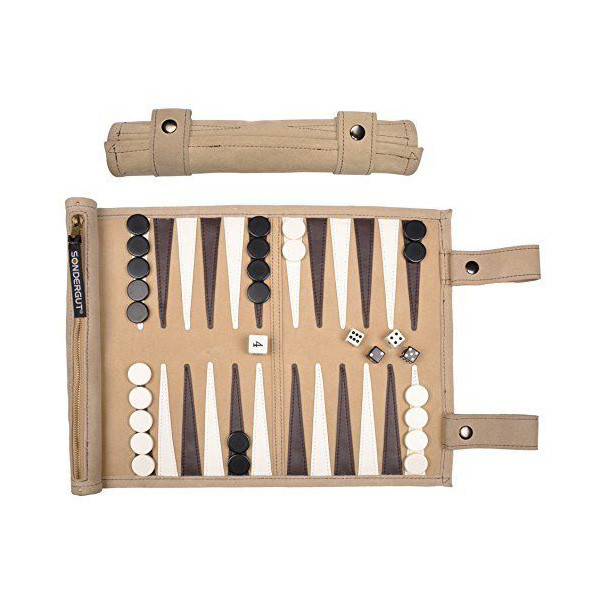 Sondergut Roll-Up Suede Backgammon Board Game