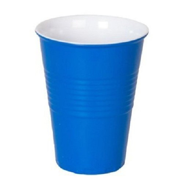 """""""What Is It?"""" Blue Melamine Cups, Set of 4"""