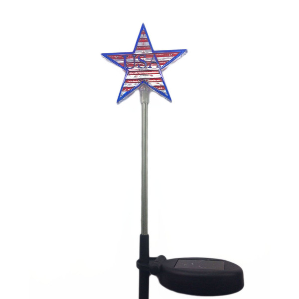 USA Star Solar Powered Garden Stake Light White LED