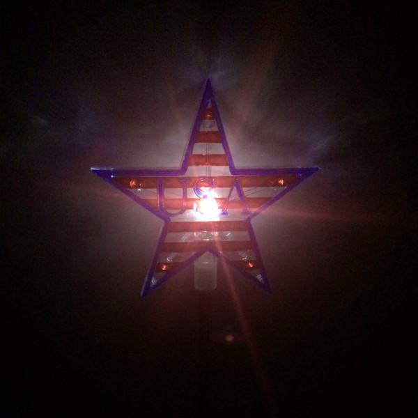 USA Star Solar Powered Garden Stake Light White LED