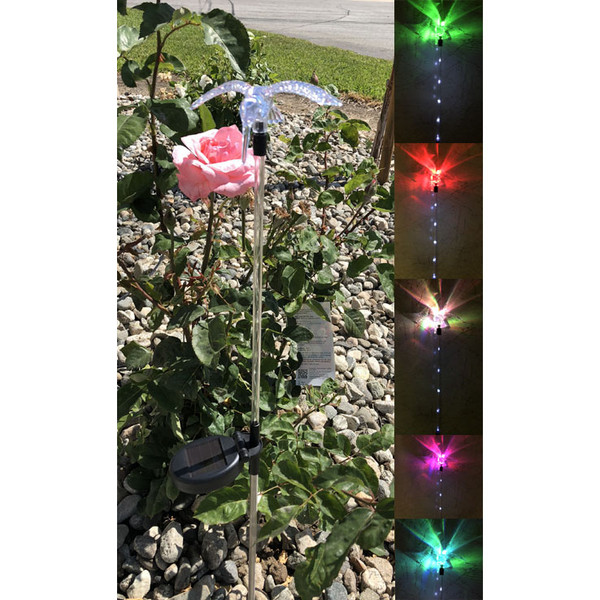 Solar Color Change & Mini White LED Hummingbird Wings Down Light (Set of 2)