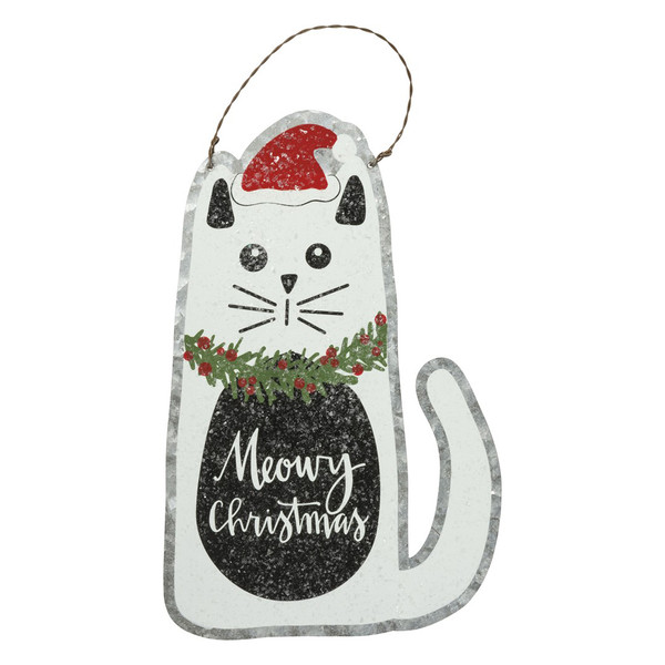 Meowy Christmas Cat Tin Hanging Sign