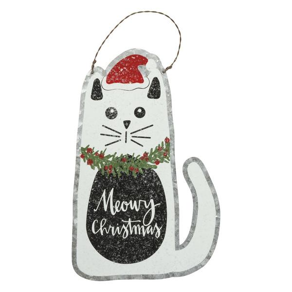 Meowy Christmas Cat Tin Hanging Sign