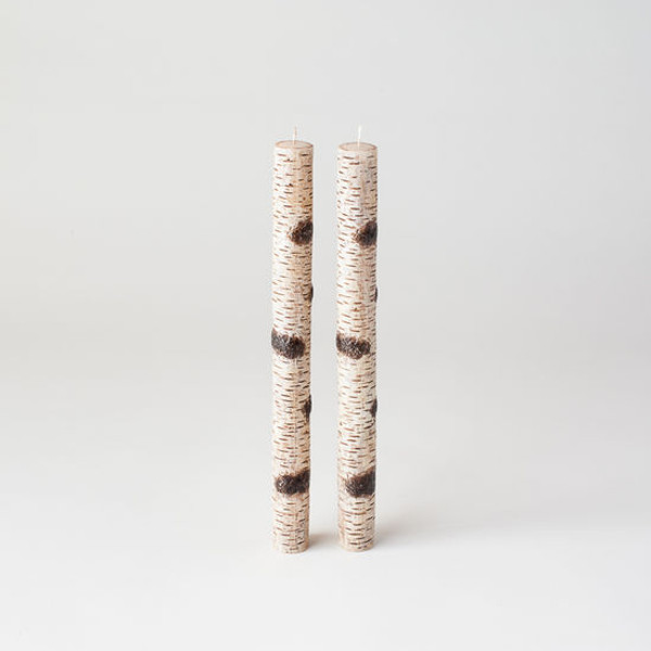 Birch Bark Taper Candles, Set of 2