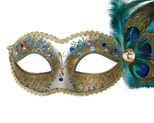 Venetian Peacock Feather Mask