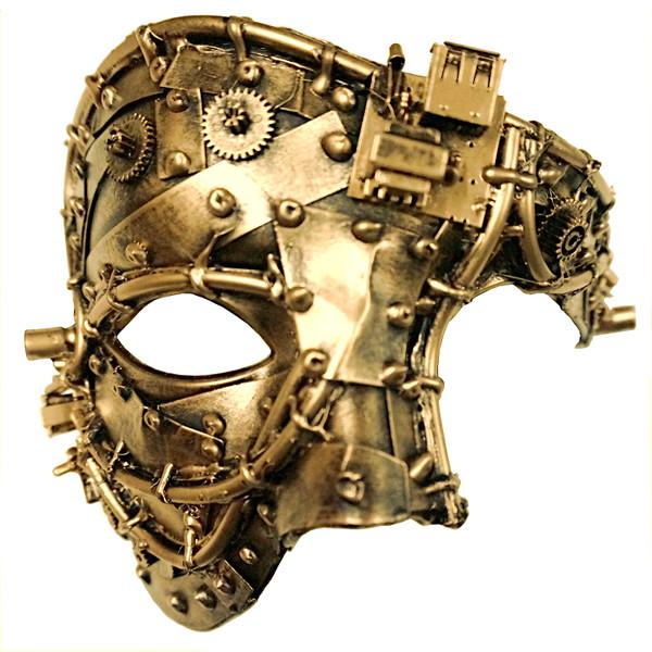 Steampunk Half-Face Mask, Gold
