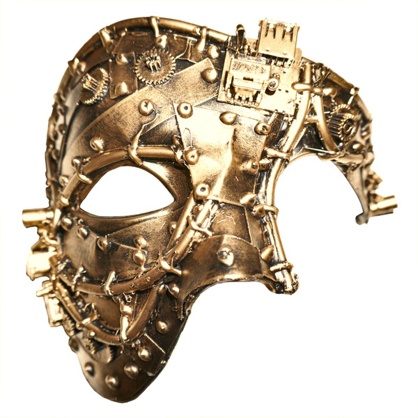 Steampunk Half-Face Mask, Gold