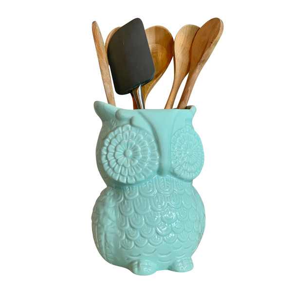 Multi-Purpose Ceramic Owl, Functions As Cooking Utensil Holder, Kitchen Storage Crock, Accent Décor, Organizer, Vase  - Turquoise Blue