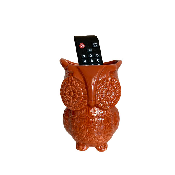 Unido Box Multi-Purpose Ceramic Owl, Cooking Utensil Holder, Kitchen Storage Crock, Accent Décor, Organizer, Vase And More - Caramel Brown