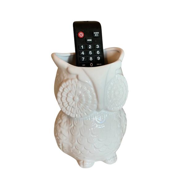 Unido Box Multi-Purpose Ceramic Owl, Utensil Holder, Kitchen Storage Crock, Accent Décor, Organizer, Vase - Ceramic White