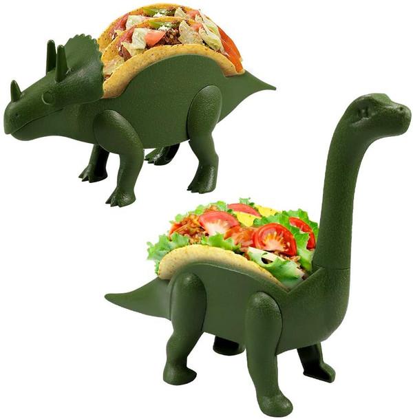 Unido Box Dinosaur Taco Holder - Kids Plastic Novelty Taco Plate - Army Green - Set of 2 -1 Triceratops, 1 Brontosaurus
