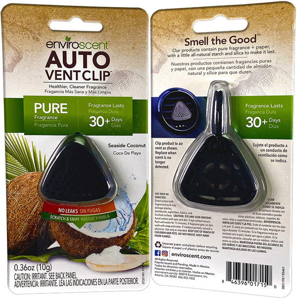 Enviroscent Auto Vent Clip, 100% Natural, Solvent-Free, Seaside Coconut Scent, 3-Pack