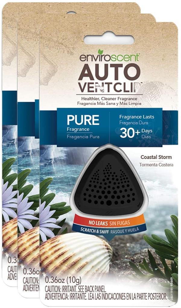 Enviroscent Auto Vent Clip, 100% Natural, Solvent-Free, Coastal Storm Scent, 3-Pack