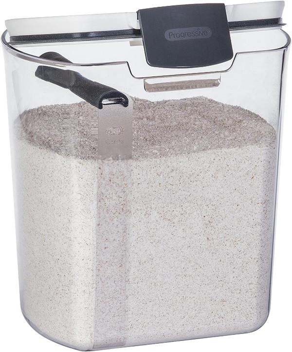 Progressive Prokeeper Airtight Flour Container, Clear bread storage, 4-quart