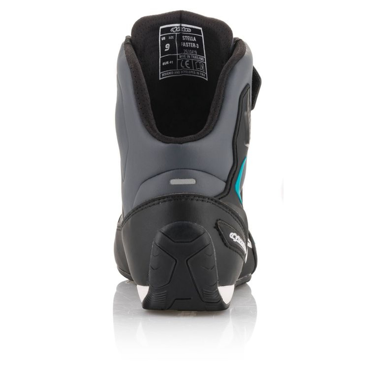 6.5 Black//Silver Alpinestars Women/'s Stella FASTER-3 Street Riding Shoes