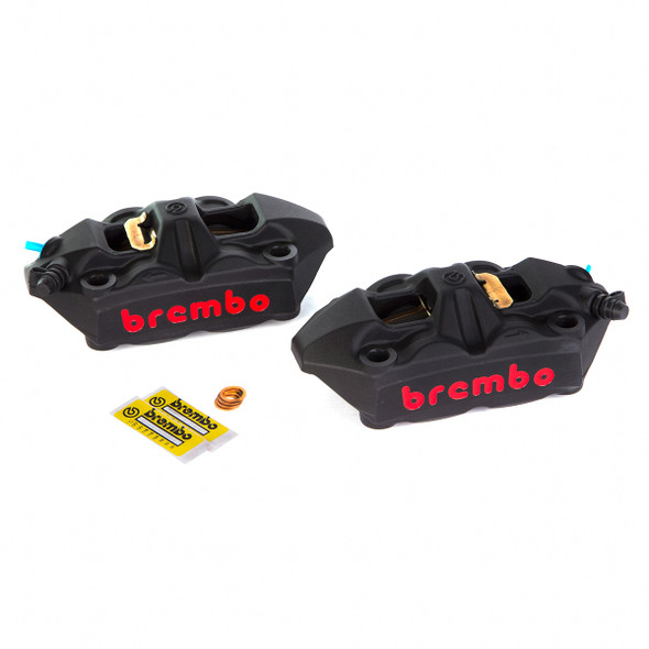 Brembo 100mm Radial M4 Cast Monoblock Caliper Kit - Black with Red Lettering