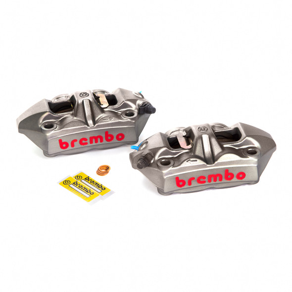 Brembo 100mm Radial M4 Cast Monoblock Caliper Kit - Titanium Gray with Red Lettering