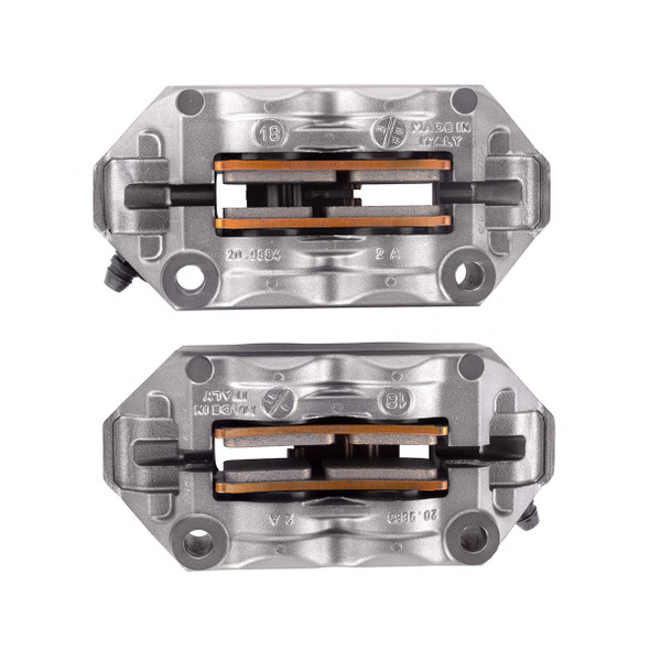 Brembo 100mm Radial M4 Cast Monoblock Caliper Kit - Titanium Gray with Red Lettering