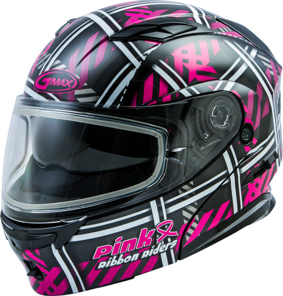 GMAX MD-01S Helmet - Pink Ribbon Riders w/ Dual Lens Shield