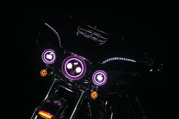 "Kuryakyn Orbit Prism+ 4-1/2"" L.E.D. Passing Lamps with Bluetooth Controlled Multi-Color Halo"