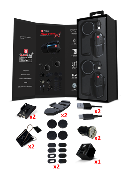 UCLEAR Motion Infinity Bluetooth Helmet Audio System - Dual Kit