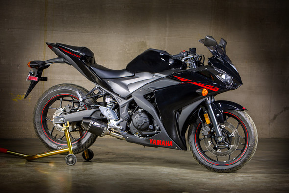 M4 15-20 Yamaha R3 Street Slayer Slip-On Exhaust - Carbon Canister