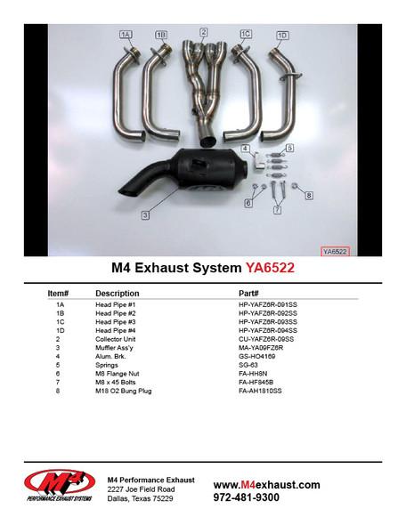 M4 09-17 Yamaha FZ6R Full Exhaust - Black Canister