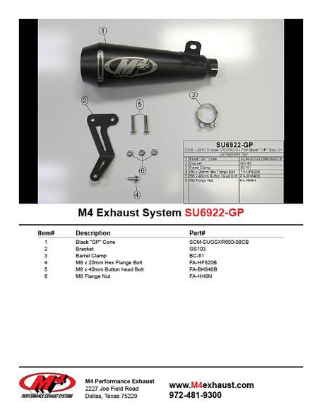M4 08-10 Suzuki GSX-R 600/750 GP Slip-On Exhaust - Black Canister