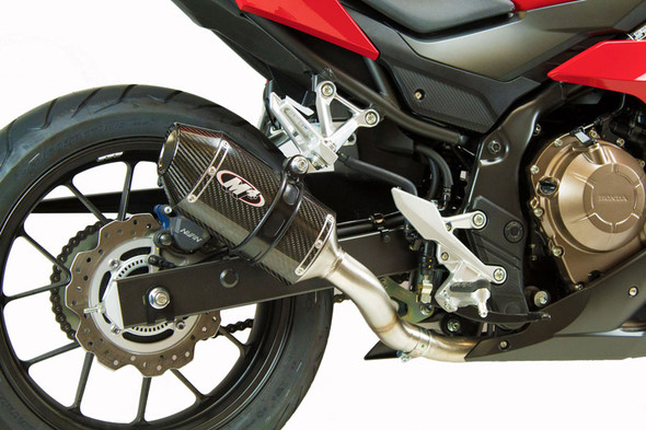 M4 16-18 Honda CBR500R Slip-On Exhaust - Carbon Canister