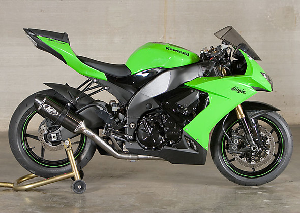 M4 08-10 Kawasaki ZX-10R Race Full Exhaust - Carbon Canister