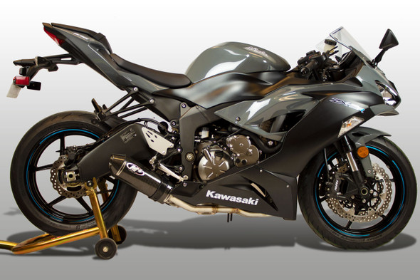 M4 09-20 Kawasaki ZX-6R/ZX636 Street Slayer Full Exhaust - Carbon Canister