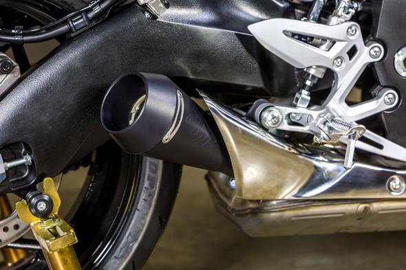 M4 16-19 Suzuki GSX-S 1000/F/FZ/Z GP Slip-On Exhaust - Black Satin Canister