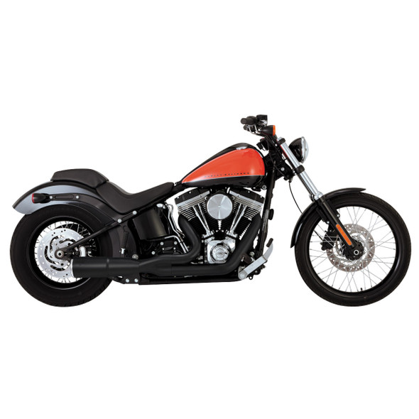 Vance & Hines Hi Output 2-into-1 Short Full Exhaust: 95-15 Softail Models - Black