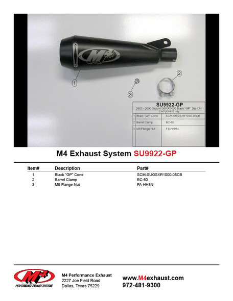 M4 05-06 Suzuki GSX-R1000 GP Slip-On Exhaust - Black Canister