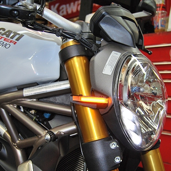 New Rage Cycles LED Front Turn Signals - 14-16 Ducati Monster 1200