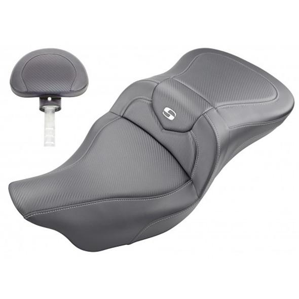 Saddlemen 08-20 FLHR, FLHT, FLHX & FLTR Roadsofa CF Seat w/ Drivers Backrest