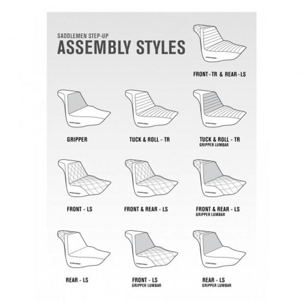 Saddlemen 08-20 FLHR, FLHT, FLHX & FLTR Brown Step-Up Front & Rear LS Seat