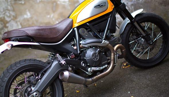 Racefit Ducati Scrambler Urban Growler Slip-On Exhaust - Titanium Etched Logo