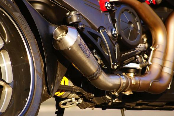 Racefit Ducati Diavel Urban Growler Slip-On Exhaust - Titanium Etched Logo