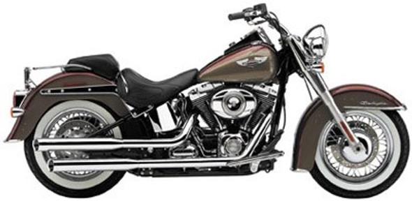 "Cobra 3"" Slashcut Slip-On Exhaust w/ Billet Tips - 07-17 Softail Models - 6002/B"