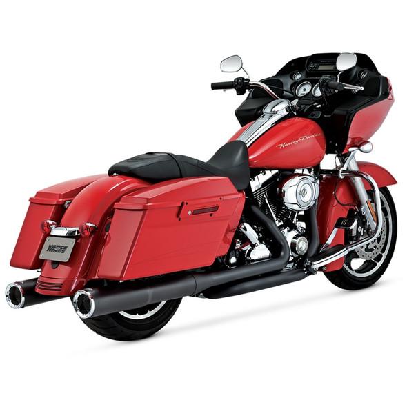 Vance & Hines Hi Output Slip-On Exhaust: 96-16 Touring Models - Black w/Chrome Tips