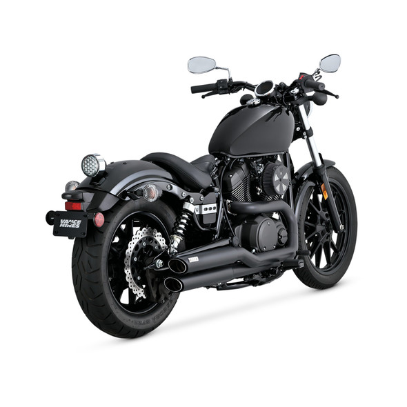 Vance & Hines Twin Slash Staggered Full Exhaust: 2014+ Bolt Models - Black